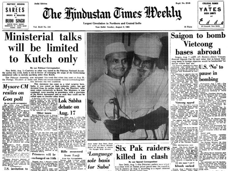 The 'Hindustan Times Weekly' edition announcing the beginning of the 1965 war against Pakistan. (HT Photo)