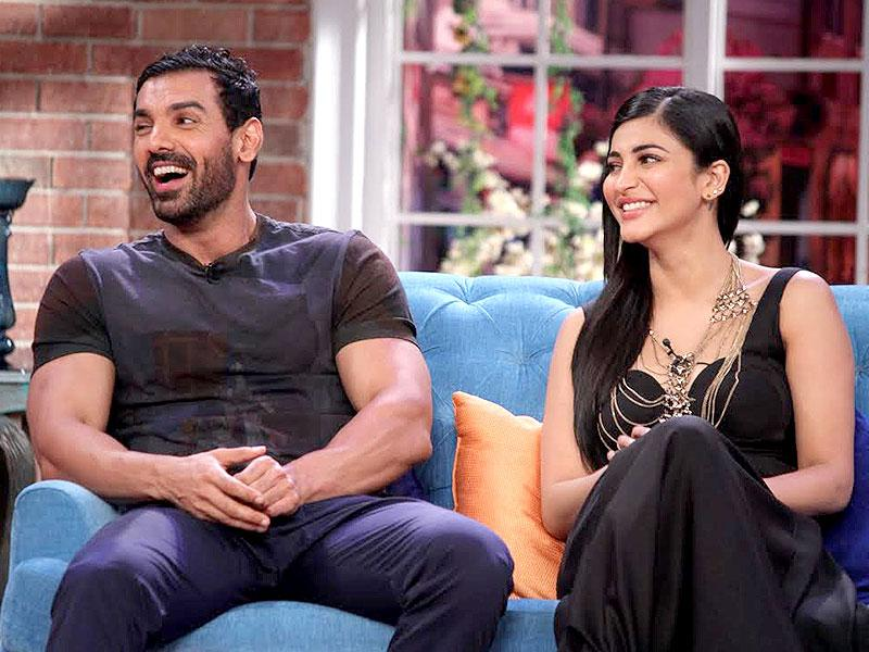 John Abraham and Shruti Haasan on the sets of Comedy Nights.