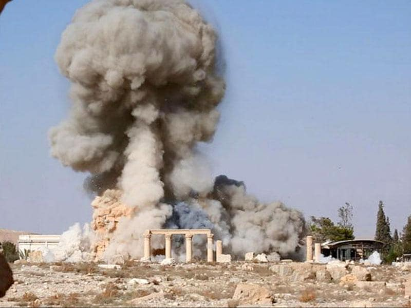 An image distributed by Islamic State militants on social media to show the destruction of a Roman-era temple in the ancient Syrian city of Palmyra. (Reuters/Social Media)
