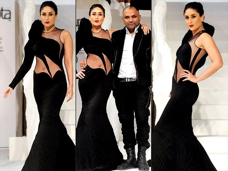 Kareena Kapoor Khan walked the ramp for designer Gaurav Gupta, during the Lakme Fashion Week Winter/Festive 2015, in Mumbai. It was the first time that Kareena and Gaurav collaborated for a fashion show. The 34-year-old actor looked her stunning best as she walked down the ramp wearing a black flowing sheer gown. (IANS photo)