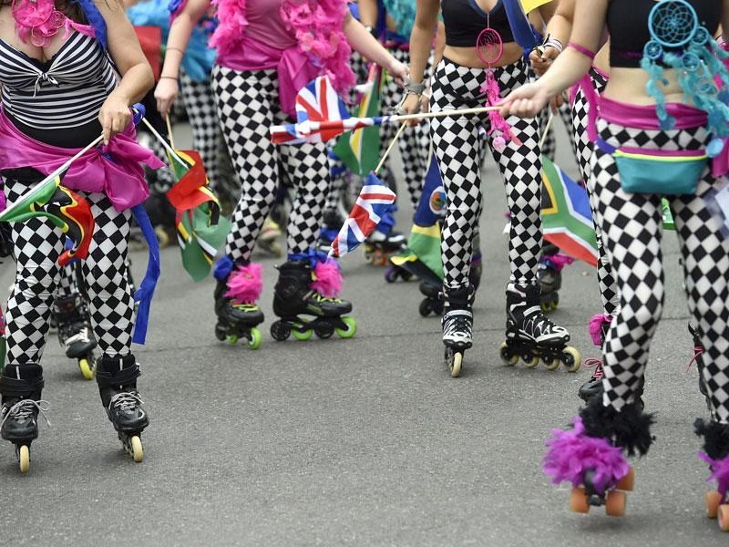 Performers skate at the Notting Hill Carnival in London August 30, 2015. (Reuters)
