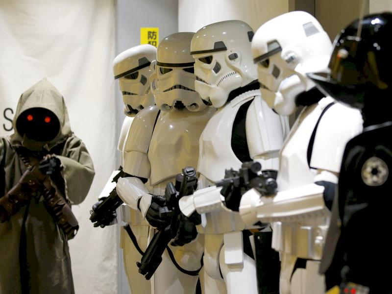 Store staff dressed as Stormtroopers at a shop in Shibuya, Tokyo. (Reuters)