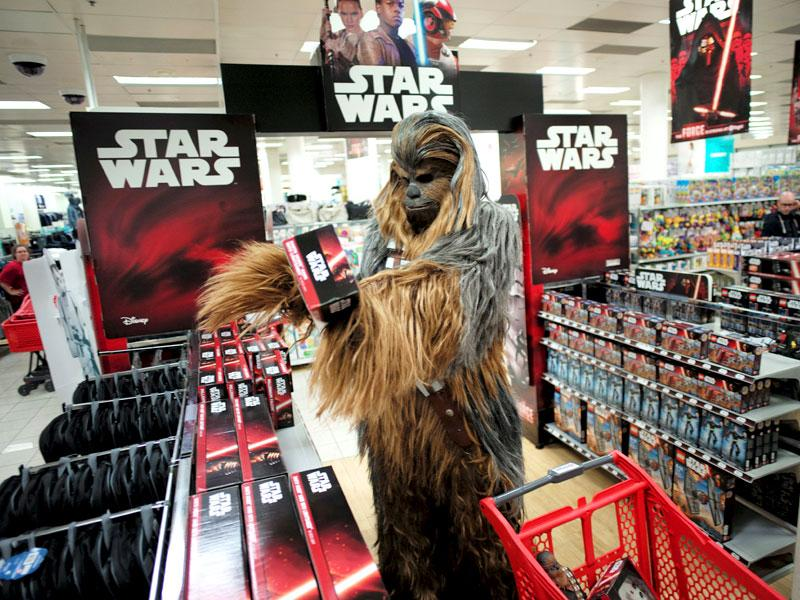 A fan dressed as Chewbacca in Sydney, Australia as part of Star Wars' Force Friday celebration. (Reuters)
