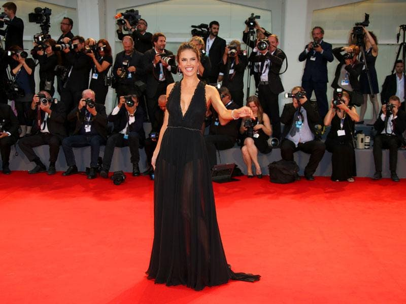 Alessandra Ambrosio poses for photographers at the red carpet of the film Spotlight during the 72nd edition of the Venice Film Festival in Venice on Thursday, September 3, 2015. (AP)Alessandra Ambrosio