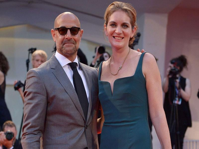Actor Stanley Tucci and his wife Felicity Blunt arrive for the screening of the movie Spotlight presented out of competition at the 72nd Venice International Film Festival on September 3, 2015 at Venice Lido. (AFP)