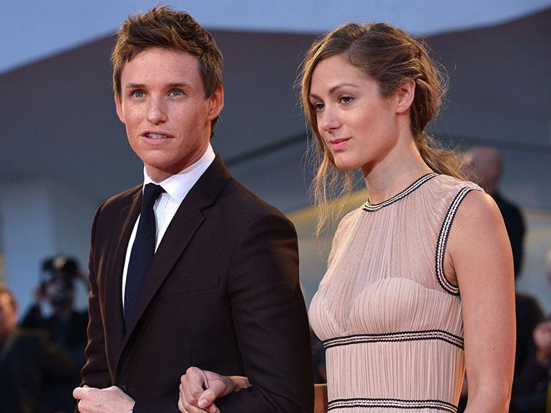 Eddie Redmayne and Hannah Bagshawe at the red carpet for his new film The Danish Girl at the Venice Film Festival. (AFP)