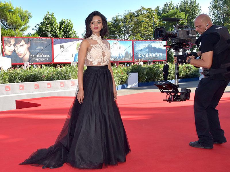 Actor Crystal-Donna Roberts arrives for the screening of the movie, The Endless River, presented in competition at the 72nd Venice International Film Festival on Monday. (AFP photo)