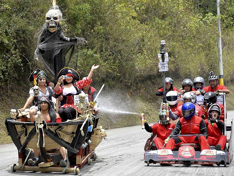 Participants in a homemade car dressed as characters from Pirates of the Caribbean during the XXVI Car Festival in Colombia on September 6, 2015. (AFP)