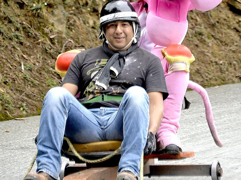 How about a Pink Panther for company? A participant in a homemade car during the XXVI Car Festival. (AFP)