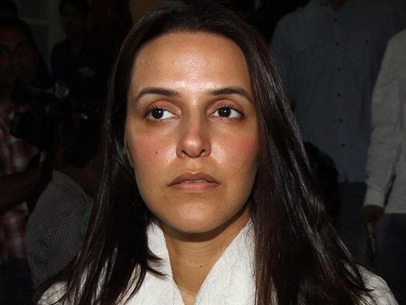 Bollywood actor Neha Dhupia arrives for the prayer meeting for the late composer Aadesh Shrivastava. (AFP)
