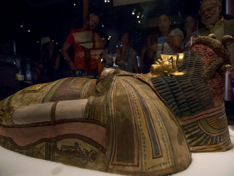 The exhibition will also show the burial secrets of these people and new details about their lives. Seen here is a coffin lid. (Reuters)