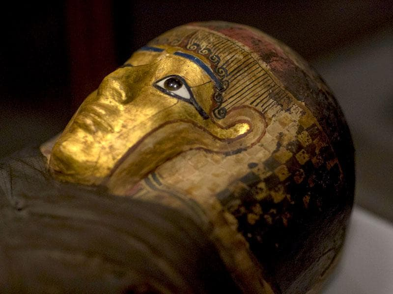 A mummy known as the Gilded Lady is seen on display during a media preview for the exhibit on September 10, 2015. (Reuters)