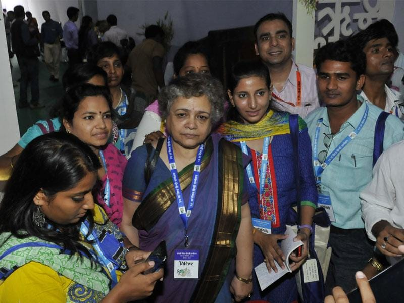 Senior journalist Mrinal Pandey at the venue of World Hindi Conference in Bhopal on Friday. (Praveen Bajpai/HT photo)