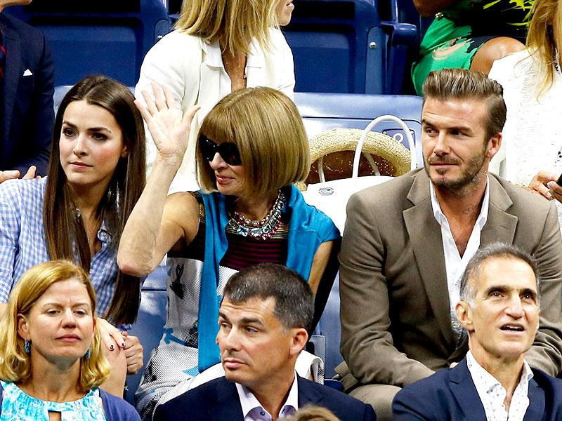 Editor-in-chief of American Vogue Anna Wintour and English former professional footballer David Beckham the Men's Singles Final match between Roger Federer of Switzerland and Novak Djokovic of Serbia on Day Fourteen of the 2015 US Open. (AFP Photo)