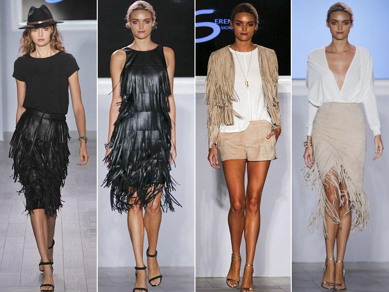 Black and beige fringed leather was a big element to several of the looks at the US tennis player and designer's show. (Reuters, AP Photos)