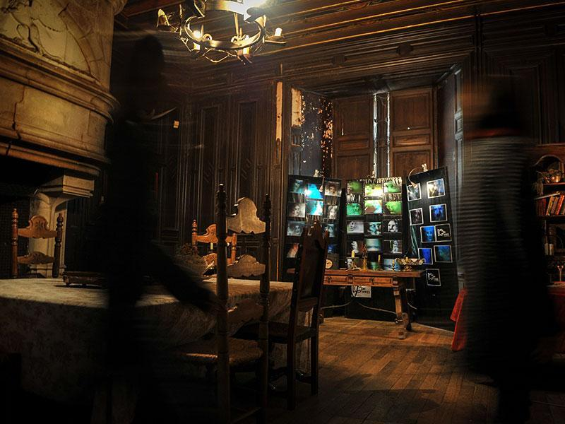 These pictures taken by French Institute for Research and Experimentation on Spirits were on display in the living room of the castle. (AFP Photo)