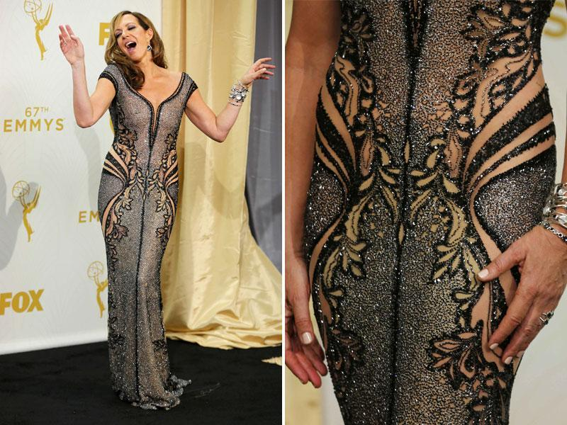 Allison Janney wore a fabulous hand embroidered gown to the event. The detail on it is just too good to be true. (AGENcies)