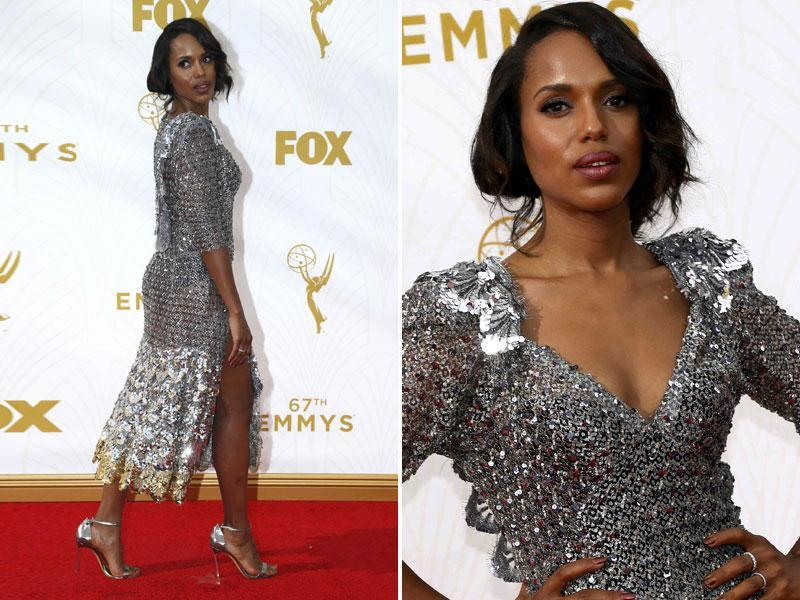 Kerry Washington wore a silvery dress with a slit as far as up as her thigh. Looks mighty uncomfortable to wear but powerful at the same time.  (AGENcies)