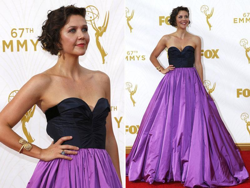 Maggie Gyllenhaal's Oscar De La Renta gown was surely making a loud statement on the red carpet. (AGENcies)