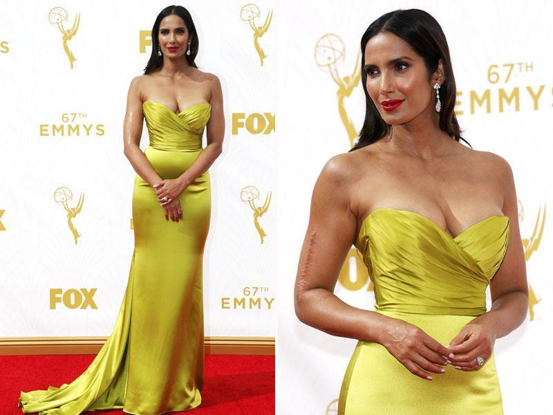 Only Padma Lakshmi can pull off silky citrine on satin like that. The Top Chef judge didn't refrain from showing off her glorious body at the red carpet to the cameras (AGENcies)