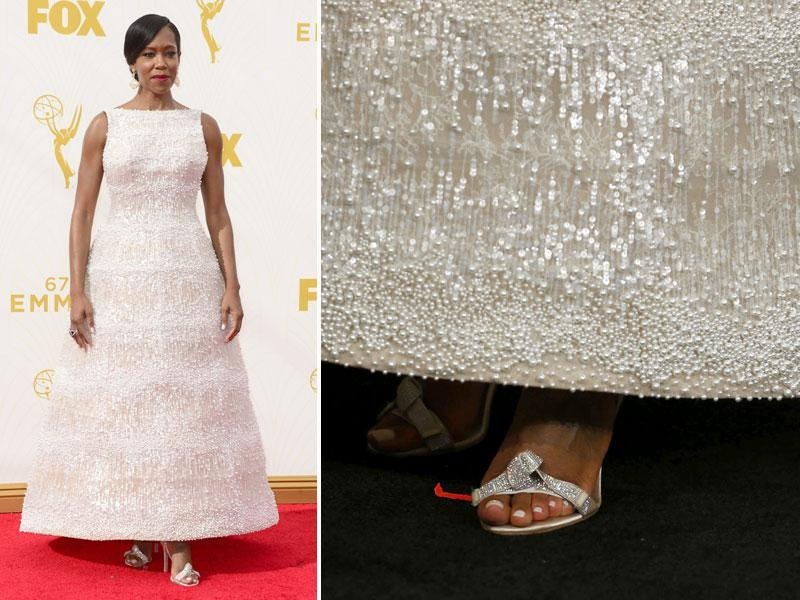 Regina King wore a white embellished gown with a very unique, billowy skirt. Reminds you of lamps, does it? (AGENcies)
