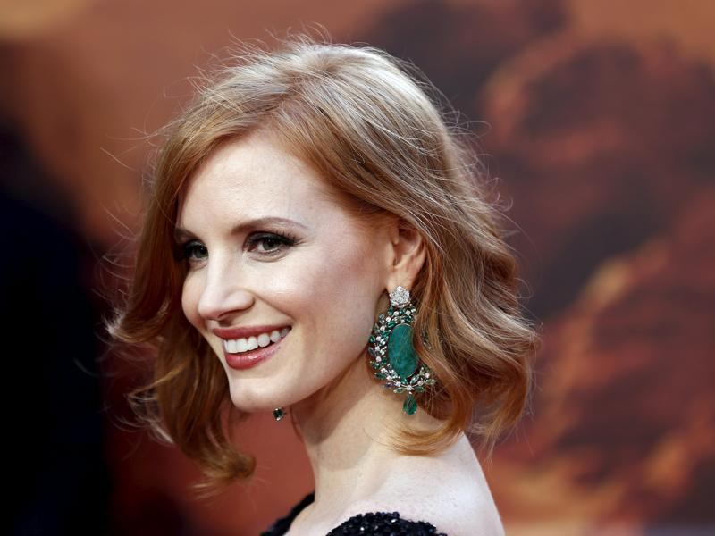 Actress Jessica Chastain arrives for the UK premiere of The Martian at Leicester Square in London.  (REUTERS)
