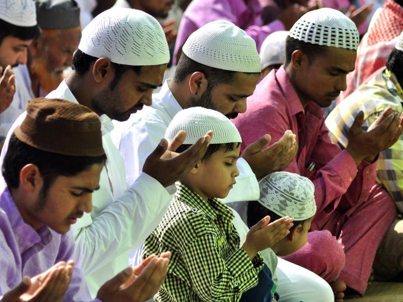 People of Muslim community offering prayers during Eid-ul-Adha in Manimajra on Friday.  (Sant Arora/HT)