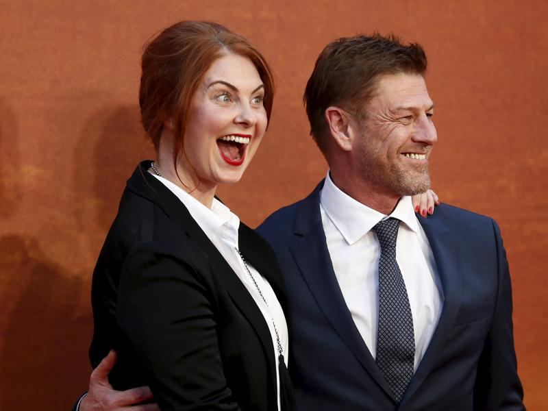 Actor Sean Bean and Ashley Moore arrive for the UK premiere of The Martian at Leicester Square in London. (REUTERS)
