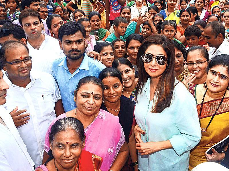 Sridevi was present at the opening of a public toilet in Versova, Mumbai. (Photo: Viral Bhayani)