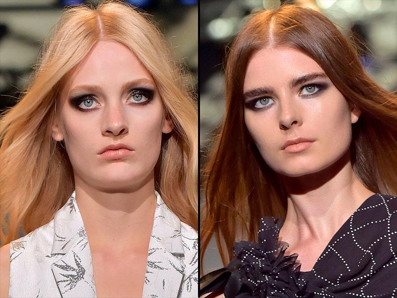 Costume National stayed true to its minimalistic aesthetic with a graphic, linear cat eye standing out against a nude lip. (AFP)