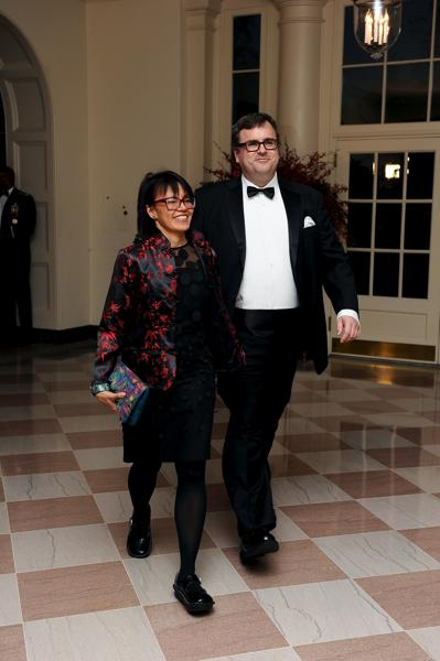 Reid Hoffman, LinkedIn founder, and his wife Michelle Yee arrive for the official State dinner for Chinese President Xi Jinping and his wife Peng Liyuan at the White House in Washington. (Reuters Photo)