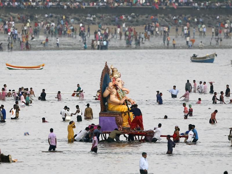 The immersion of the idols marks the end of the ten-day long Ganesha Chaturthi .  (AP Photo)