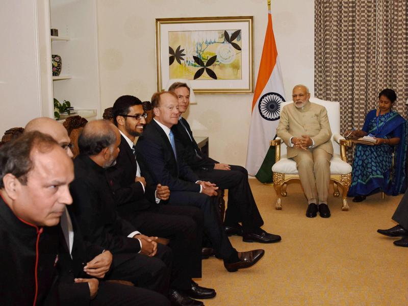 Prime Minister Narendra Modi during a meeting with technology leaders in San Jose on Saturday.  (PTI photo)