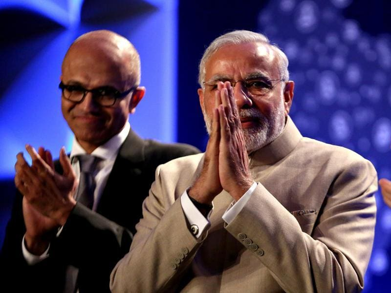 Prime Minister Narendra Modi at the Digital India dinner held at Fairmont Hotel in San Jose on Saturday. (AP Photo)