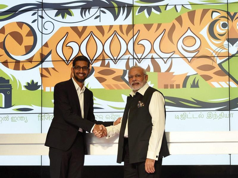 Prime Minister Narendra Modi shakes hands with Sundar Pichai CEO Google in Mountain View, California on Sunday. (PTI Photo )