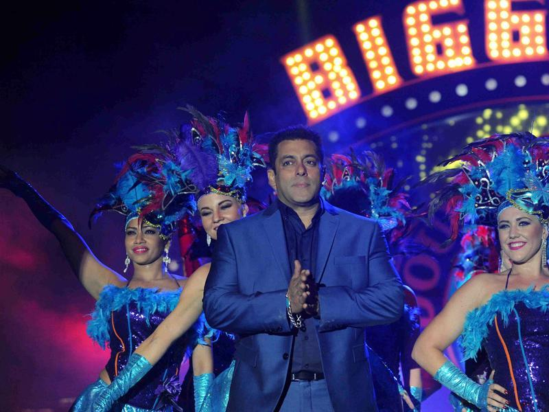 Bollywood actor Salman Khan performs during the hosting and press conference with the launch of the Indian reality television show Bigg Boss 9.  (AFP)