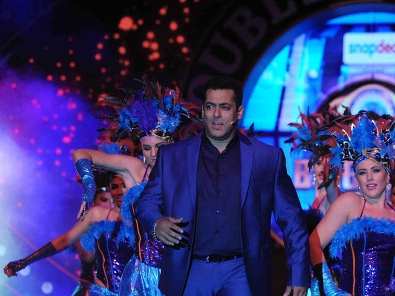 Salman Khan performs during the press conference  of Bigg Boss 9 in Mumbai on September 28.  (AFP)