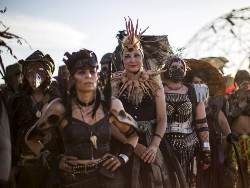 Fans in impressive costumes during the Wasteland Weekend event in California City, California September 26, 2015. The four-day event has a post-apocalyptic theme and is inspired by the Mad Max movie franchise.  (REUTERS)