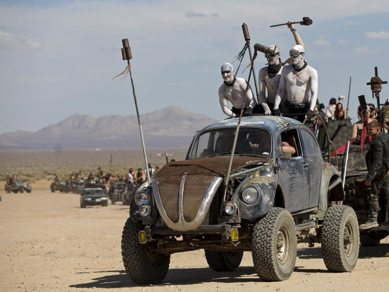Enthusiasts ride their customized vehicles during the Wasteland Weekend event in California City, California September 26, 2015. The four-day event has a post-apocalyptic theme and is inspired by the Mad Max movie franchise.  (REUTERS)