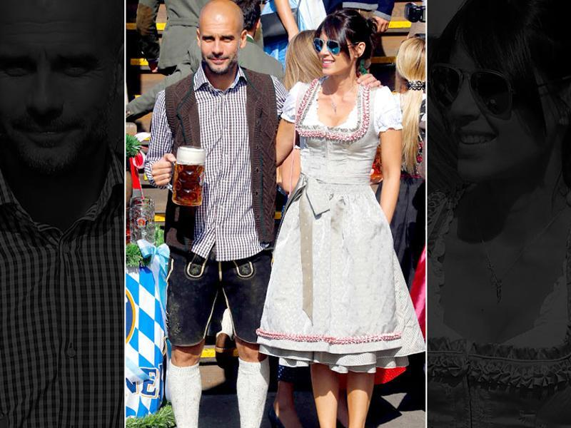 Former Barcelona manager Pep Guardiola, who is now coaching German defending champions Bayern Munich, with his wife Cristina Serra at the 182nd annual beer festival in Munich, Germany. (EPA Photo)