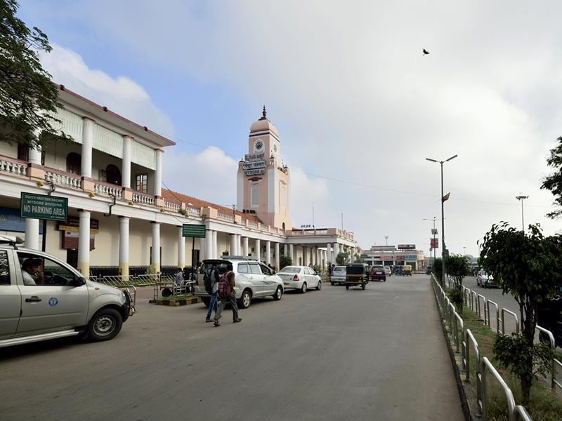 Mysore leads the list with minimal open defecation and extensive adoption of solid waste management practices. View of Mysore railway station. A view of the Mysore railway station. (Pavan Kumar/HT Photo)