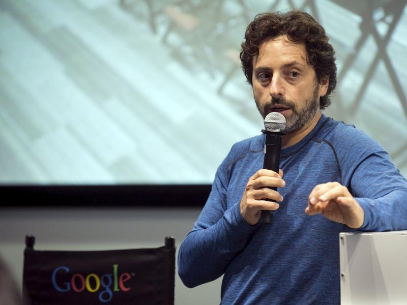Right before the press was allowed into the cars, Google co-founder Sergey Brin took questions  after a presentation about the autonomous vehicles by Chris Urmson, Director of the self-driving cars project at Google.  (REUTERS)