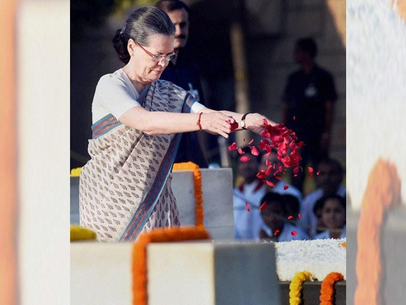 Congress president Sonia Gandhi pays tribute at Mahatma Gandhi's memorial, Rajghat, on the occasion of his birth anniversary, in New Delhi. (PTI Photo)