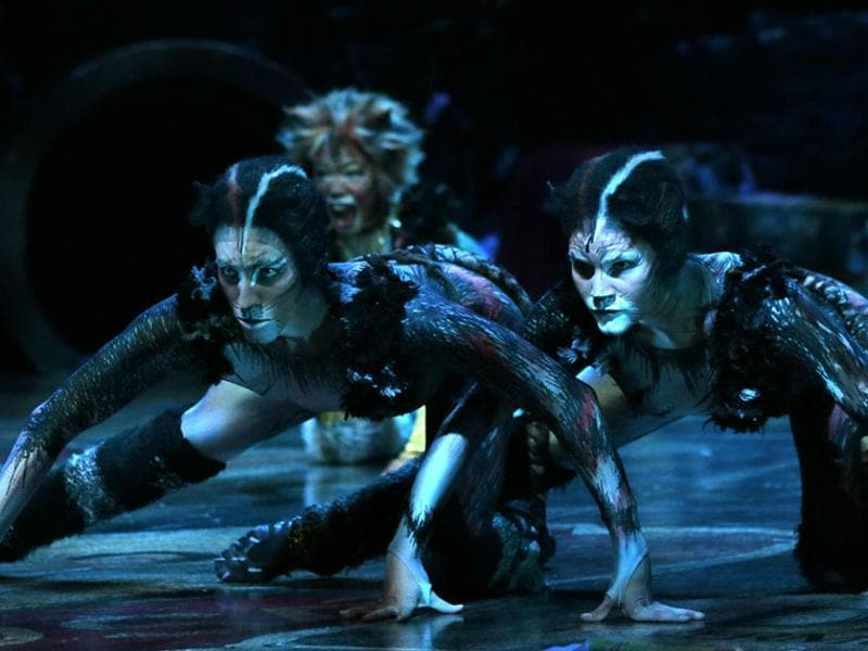 Cast members perform excerpts of the musical Cats, based on TS Eliot's Old Possum's Book of Practical Cats, a collection of poems about feline psychology and sociology, on October 1, 2015 onstage in Paris. (AFP)