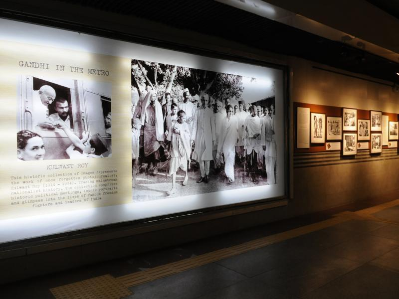 Photographs of Mahatma Gandhi are on display during an exhibition at the Jor Bagh metro station in New Delhi, India. The images are archives of Kulwant Roy, put together by India Photo Archive Foundation.  (Saumya Khandelwal/ HT Photo)