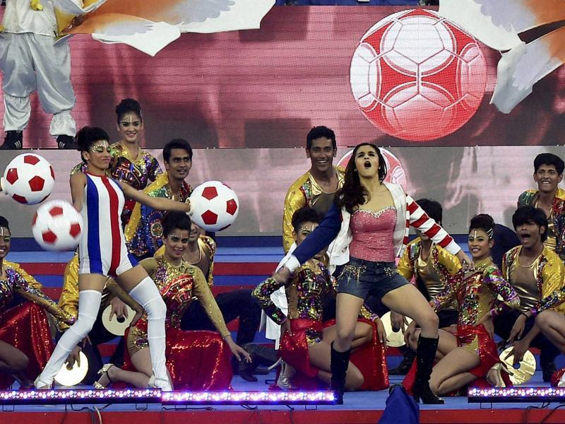 Alia Bhatt enjoys her performance at the opening ceremony of ISL 2015 in Chennai on October 3.  (PTI PHOTO)