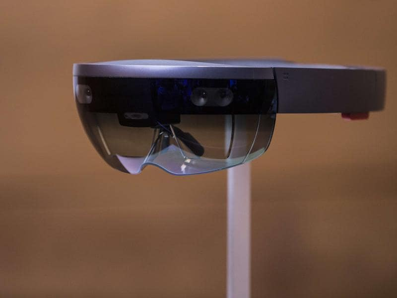Microsoft's augmented reality headset, the HoloLens, is displayed at the company's New York event . Microsoft announced that it will start selling a developer version of the headset in the first quarter of next year for $3,000. (AFP)