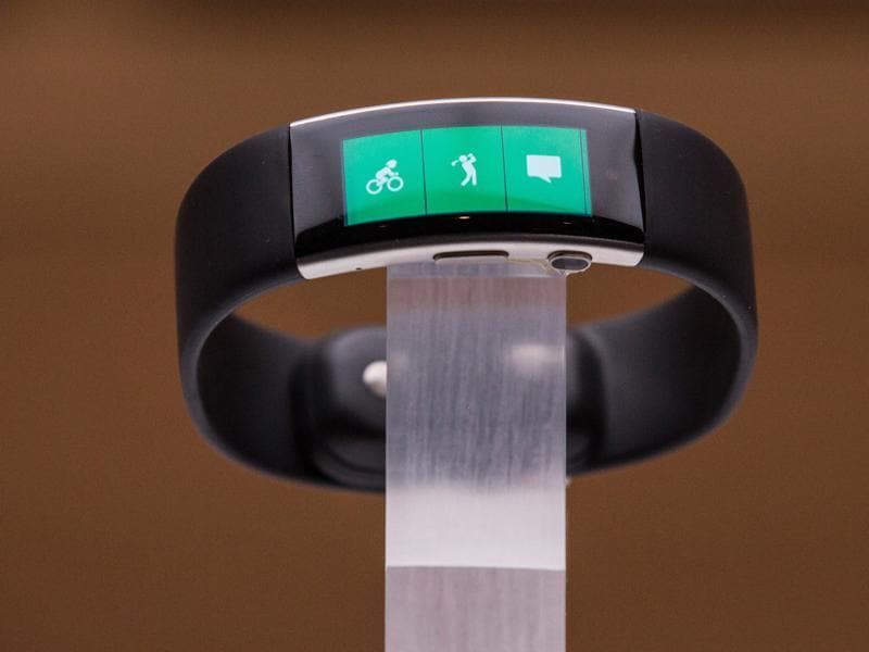Microsoft also released a new version of  the Band, the company's motion-tracking wearable device. The new Band incorporates new sensors like a barometer to measure elevation and has a curved screen to fit your wrist better. It's priced at $249. (AFP)