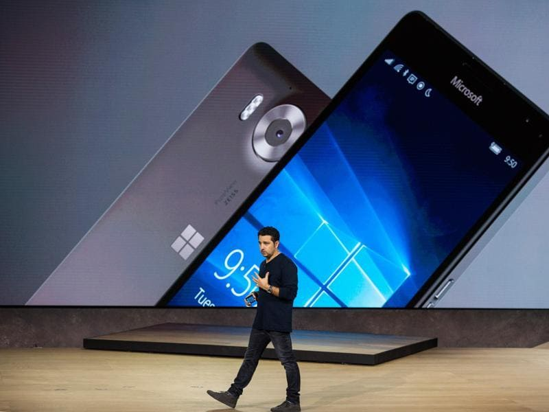 NEW YORK, NY - OCTOBER 06: Microsoft Corporate Vice President Panos Panay also introduced the introduces the Microsoft Lumia 950 and Lumia 950 XL, the company's first flagship smartphones in over a year that will be sold for $549 and $649 respectively.  (AFP)