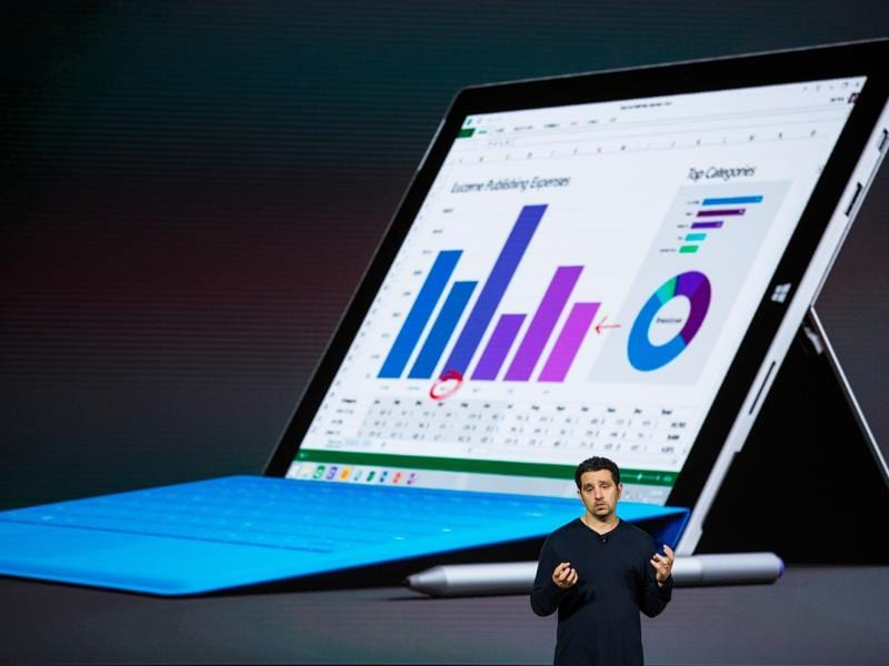 Microsoft Corporate Vice President Panos Panay also introduced a new tablet titled the Microsoft Surface Pro 4. This is similar to Microsoft's previous device, the Surface Pro 3, but features a slightly larger display,  and a redesigned keyboard with a larger trackpad.  (AFP)